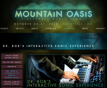Screen shot of web site announcing Dr. Bob Interacitve Sonic Experience and my participation in Mountain Oasis