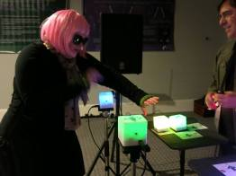 Another great photo by the Bob Moog Foundation pf a costumed player jamming with the 9 Box.