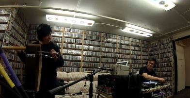 Mark Mosher and Victoria Lundy playing live to air at KGNU in Boulder
