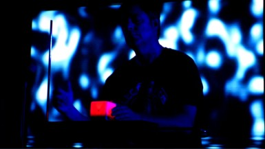 "In this shot, I'm playing the song ""Before We Wake"" using Theremin and AudioCube giving me 6 dimensions of spatial control. This is not instragramed or photoshopped btw. It was a frame from video shot by Jeremy D"
