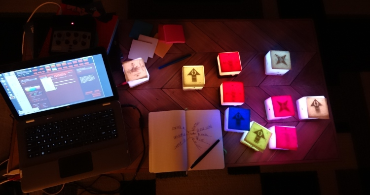 Getting organized. Documenting module types and using Post It Notes on top of cubes until I learn the system better.