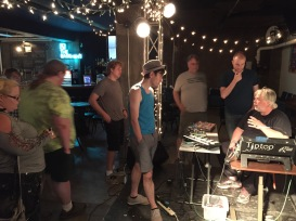 Darwing taking questions after the show in Des Moines