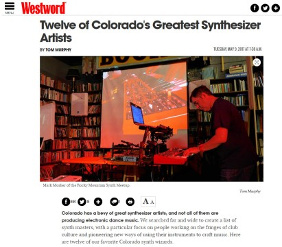 "Named one of ""Twelve of Colorado's Greatest Synthesizer Artists"""